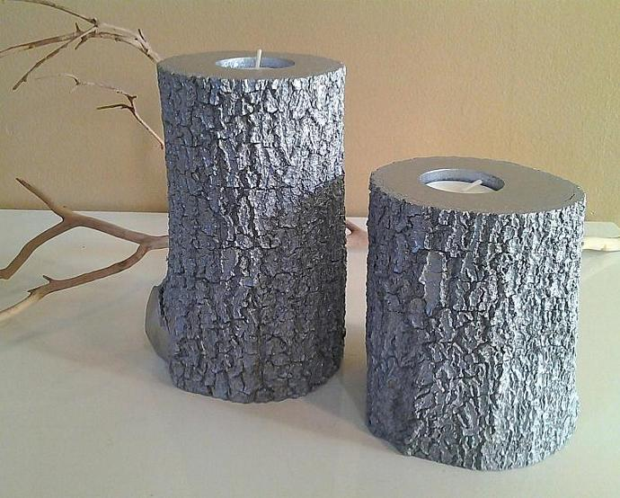 Metallic silver tree branch candles  - Tree slices - Wood candles - Wedding
