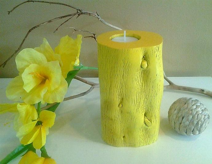 Natural Yellow Wood candle - Home decor - Tree candles - Tree trunk candle