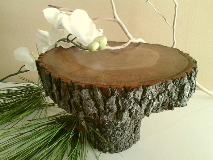 "9"" Tree slice cake stand - Rustic wedding cake stand - Holiday cake stand - Tree"