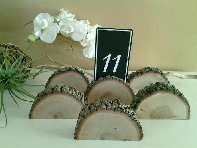 6 Oak Tree slice table card holders  - Wood place card holders - Oak tree slices