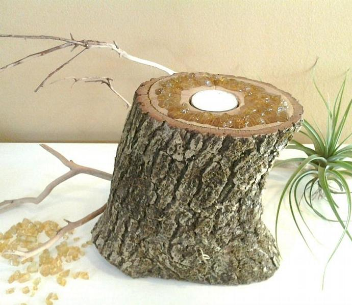 ORIGINAL design - Embelleshed Crystal Custom Art Candleholder - Tree trunk - Tea