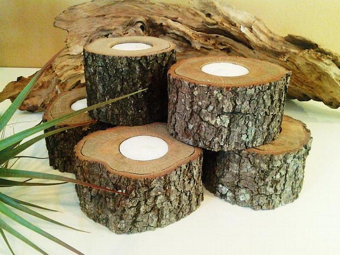 SET OF (12) Oak Tree trunk candleholders - Rustic Wedding -  - Christmas - Home