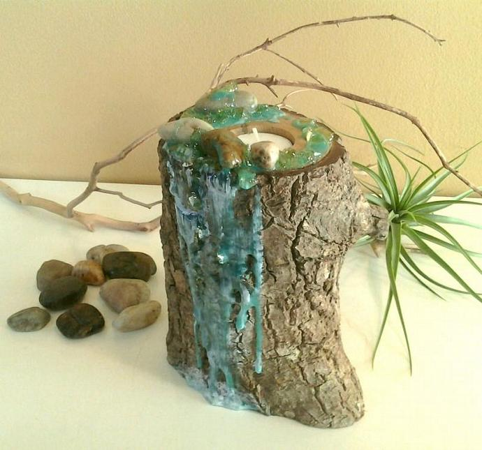 TREASURY ITEM - Original design - River Rock Custom Art Candleholder - Tree