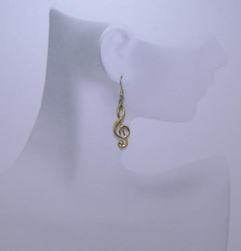 SALE - 75 Percent Off - Treble Cleft Note Earrings - Goldtone