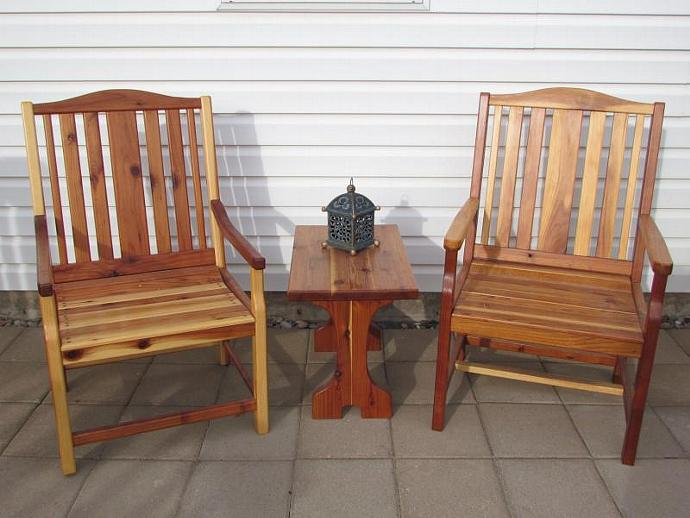2 Redwood Garden Chairs and 1 Redwood Side Table.