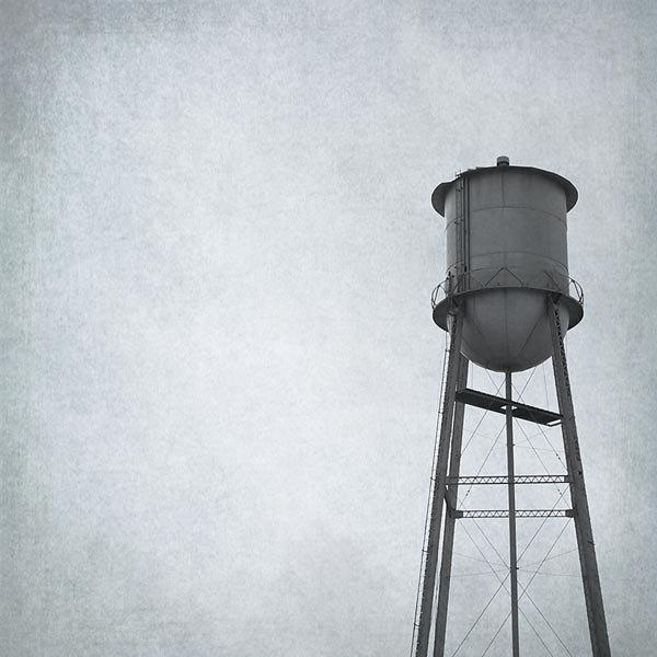 Landscape Photograph - Water Tower - 8x8 black and white rustic metal grey