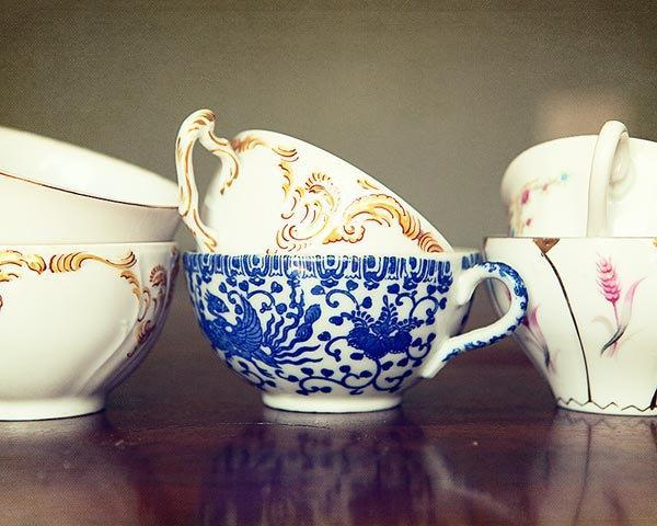 Tea Cup Photograph -gold yellow white cream purple green grey vintage style