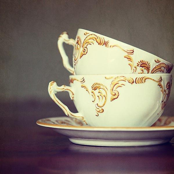 Still Life Tea Cup Photography- Two Cups - gold yellow white cream purple green