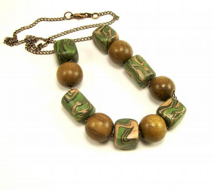 Wood and Polymer Clay Beaded Necklace, Olive Green Necklace