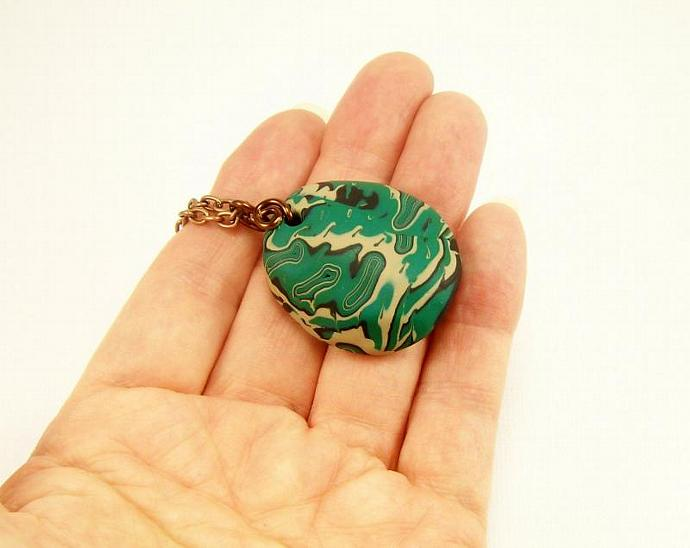 Emerald Green Clay Pendant, Copper Handmade Necklace, Polymer Jewelry