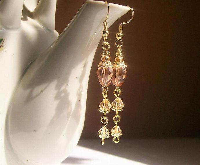 Crystal Long Dangle Earrings, Champagne Swarovski Jewelry