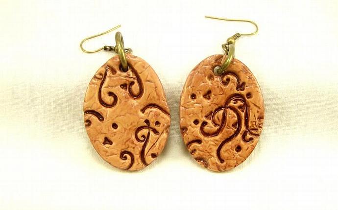 Western Dangle Earrings, Polymer Clay