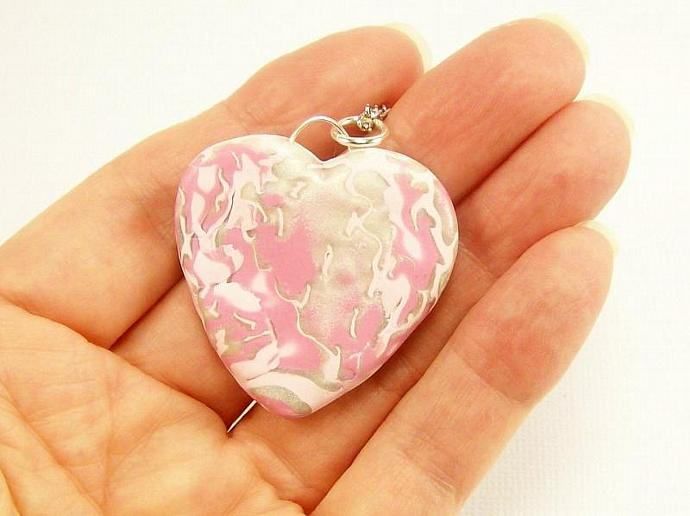 Pink and Pearl Clay Heart Pendant Necklace, Handmade Polymer Jewelry