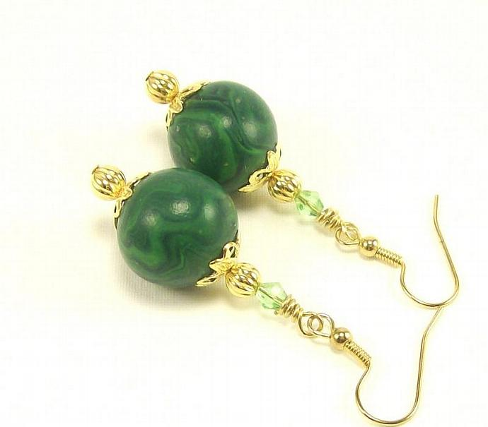 Polymer Clay Jewelry Earrings, Handmade Green and Blue Dangle Earrings