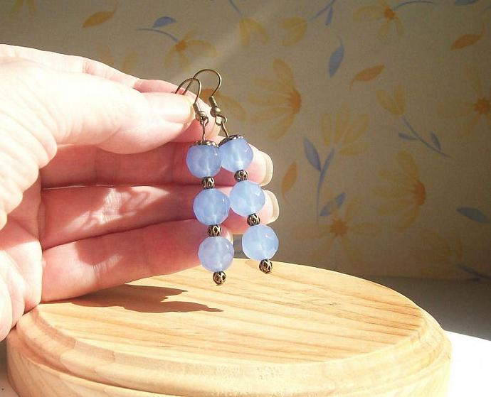 Dangle Earrings Beaded Jewelry in Blue
