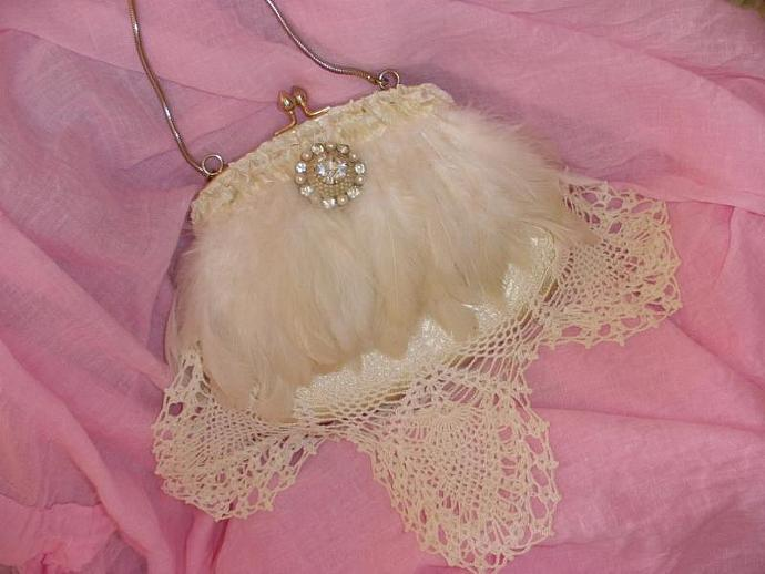Grace Formal Feminine Feathered Purse with Vintage Lace and Sparkling Rhinestone