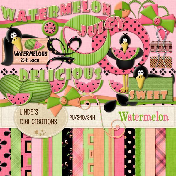 Watermelon (Digital Scrapbooking Kit)