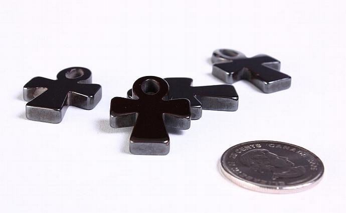 4 cross charm pendant hematite gemstone 30mm x 20mm 4pcs (918)