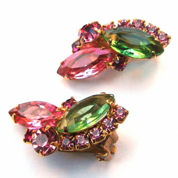 Vintage Pink & Green Rhinestone Earrings