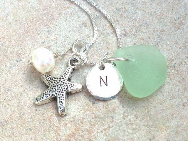 beach necklace, sea glass jewelry, sea glass, hawaiian necklace, initial