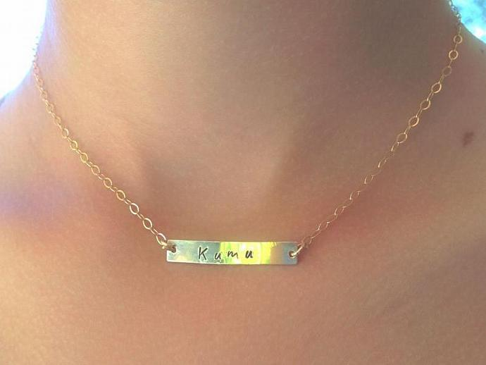gold necklace, gold bar necklace, name necklace, gifts for mom, name necklace,