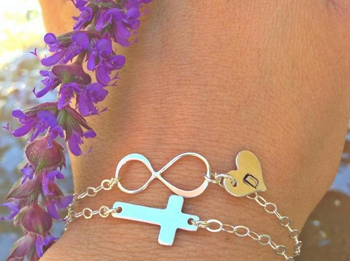 cross bracelet, personalized infinity, personalized cross, sterling silver ,