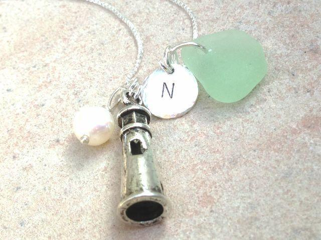 lighthouse necklace, initial jewelry, sea glass jewelry, beach jewelry, mother,