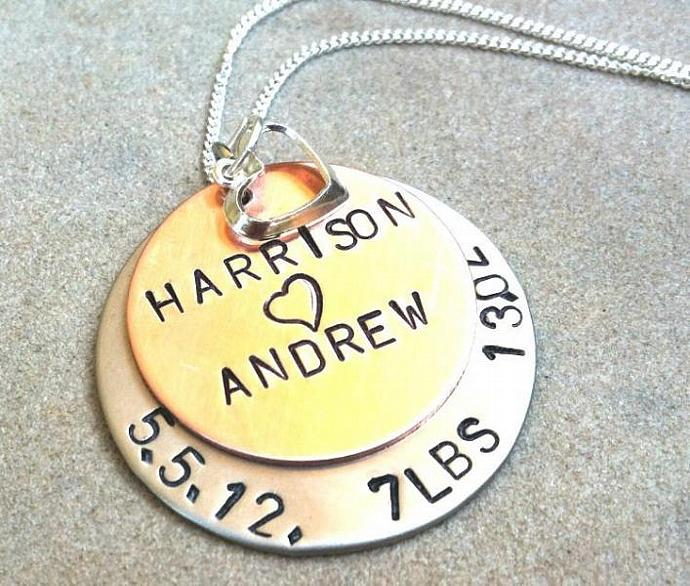 New Baby Necklace, mom Necklace, Personalized Baby Necklace, new mom, Baby, hand