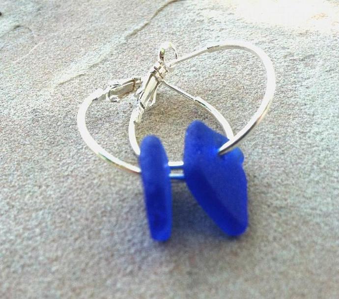 sea glass earrings, hawaiian jewelry, beach jewelry, sea glass, blue earrings,