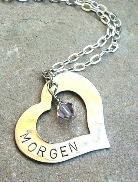 girl necklace, christmas necklace for daughter, heart necklace, engraved,