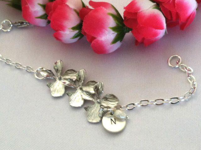Orchid Anklet, Personalized Anklet, Initial Anklet,  orchid bracelet, Custom