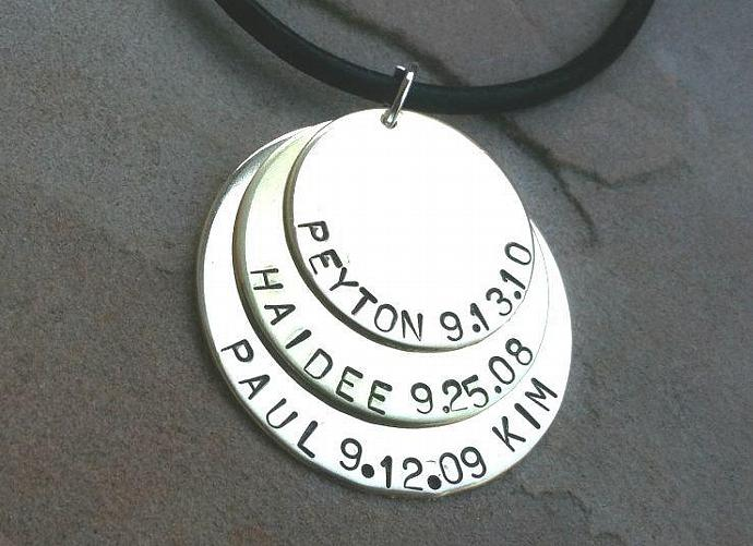 mens necklace, layered necklace, family necklace, hand stamped, disc necklace,