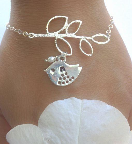 initial bracelets, flower girl bracelet, bridal jewelry, sparrow, bird bracelet,