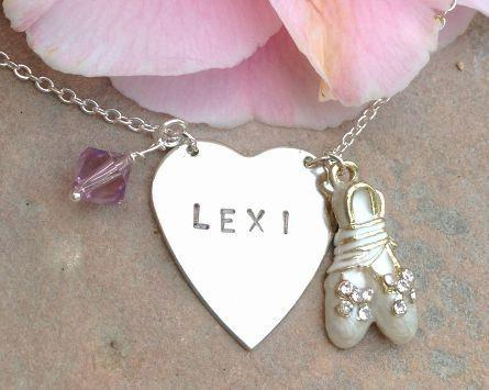 ballerina necklace, ballet necklace, child christmas gift ,personalized