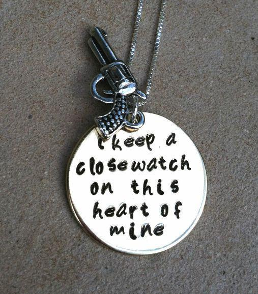 Johnny Cash Necklace, I Keep A Close Watch necklace, Johnny Cash, Personalized