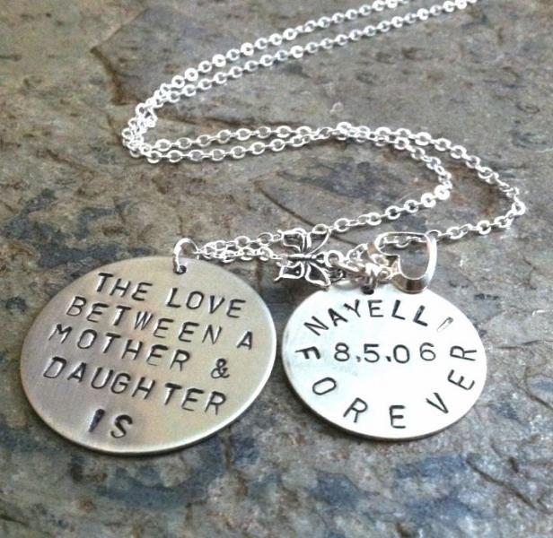 Hand Stamped jewelry, Mother Daughter, personalized necklace, mom necklace, love