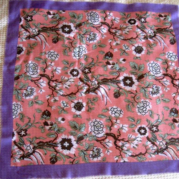 Vintage Neck Scarf Floral Woven Pink Lavender Brown Green Glentex Fringed