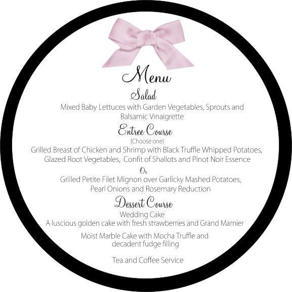 6 inch Round single layer menu customizable to your color pallette, your accents
