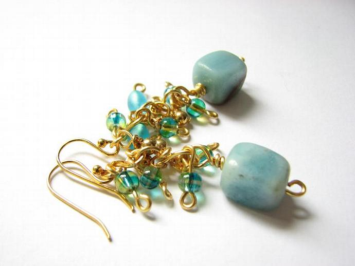 Amazonite Gold Earrings, Icy Blue Stone Cascading Dangle Ear Bling