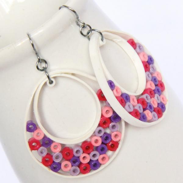 Big Hoop Earrings Niobium Earring Hooks Pink Purple and White Paper Quilled Eco