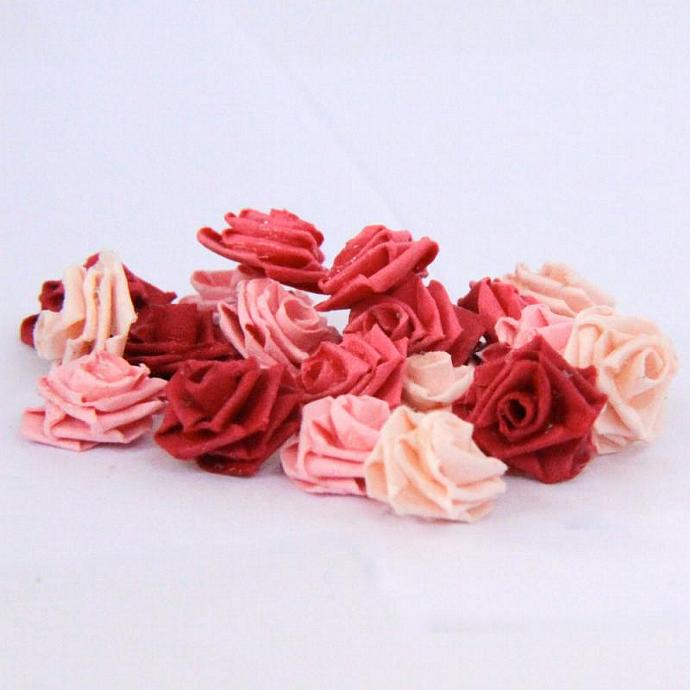 Tiny Paper Quilling Roses - Scrapbooking Embellishments - Mixed Pink Set of 24
