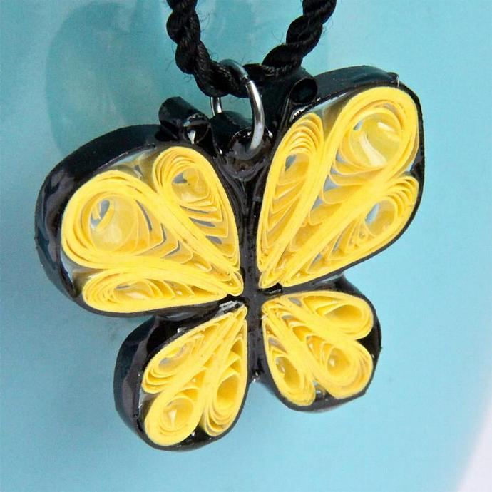 Yellow Butterfly Resin Pendant Necklace Handcrafted by Paper Quilling with
