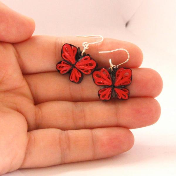 Eco Friendly Earrings Little Red Butterflies Paper Quilled Handmade Artisan
