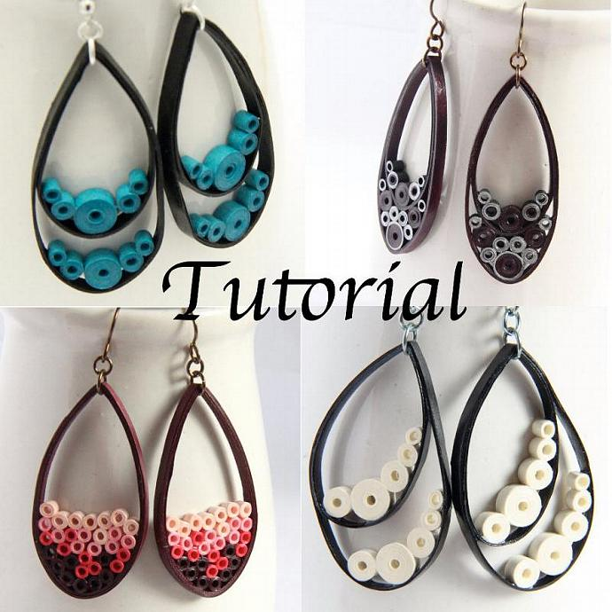 Tutorial for Paper Quilled Jewelry PDF Paisley and Teardrop Earrings and