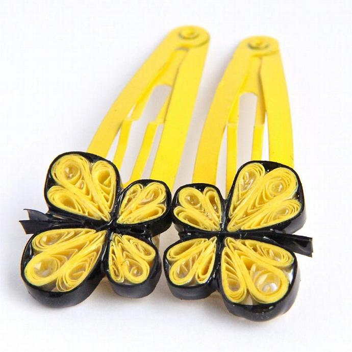 Yellow Butterfly Hairclips - Handmade Paper Quilling Snap Hair Clips - Resin