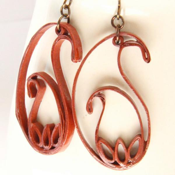 Eco Fashion Paisley Earrings with Niobium Earring Hooks rust brown unique