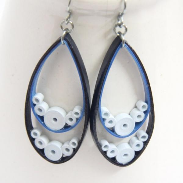 Big Blue Teardrop Earrings  - with Niobium Earring Hooks, Eco Friendly Earrings,