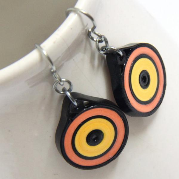Eco Friendly Earrings Neon Yellow Orange and Black Circle with Niobium Earring