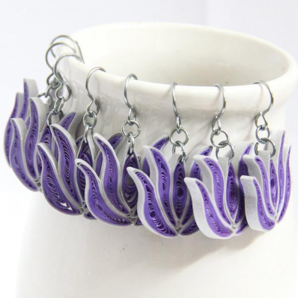 Bridesmaid Gift Lotus Earrings 4 Pairs Purple and Silver Handmade with Niobium