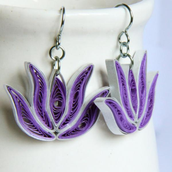 Bridesmaid Gift Lotus Earrings 4 Pairs Purple and Silver Handmade with Niobium